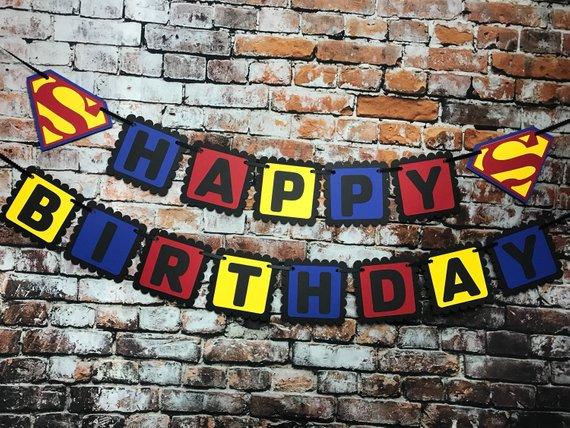 Superman Birthday Banner - Superman Party Ideas