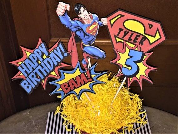 Superman Table Centerpiece - Superman Party Ideas