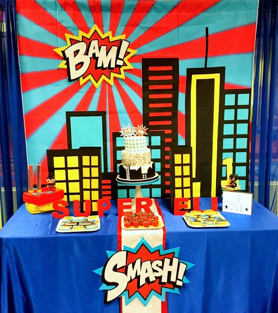 Superman Party Dessert Table and Backdrop - Superman Party Ideas