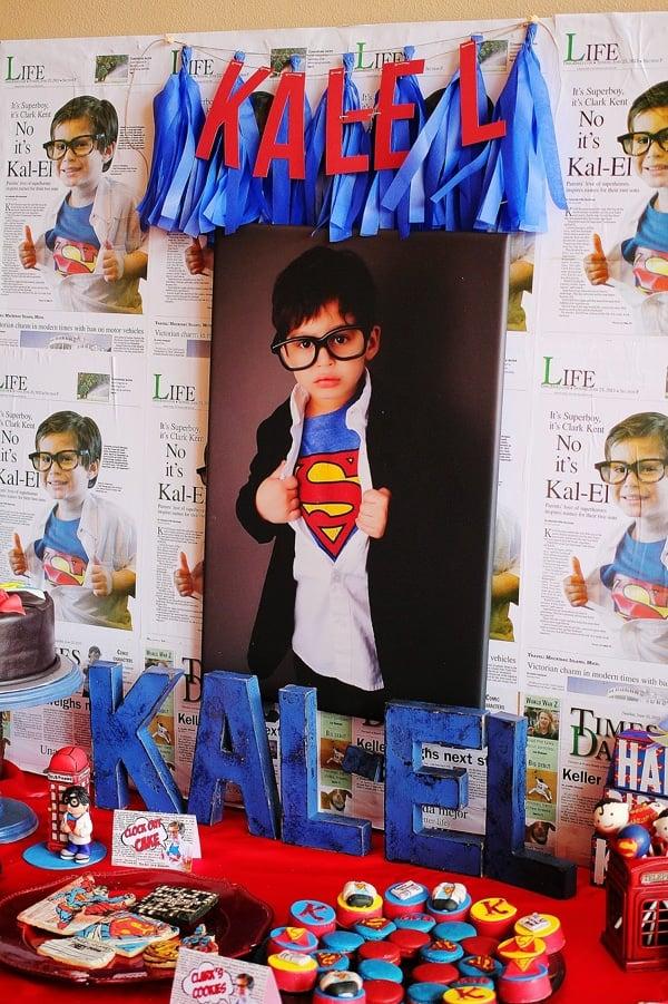Superman Party Dessert Table Backdrop - Superman Party Ideas