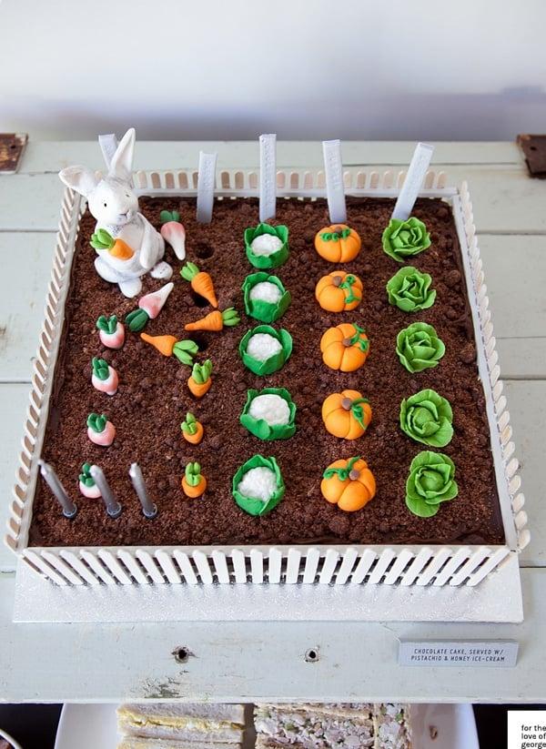 Rabbit Vegetable Garden Cake - Peter Rabbit Party Ideas