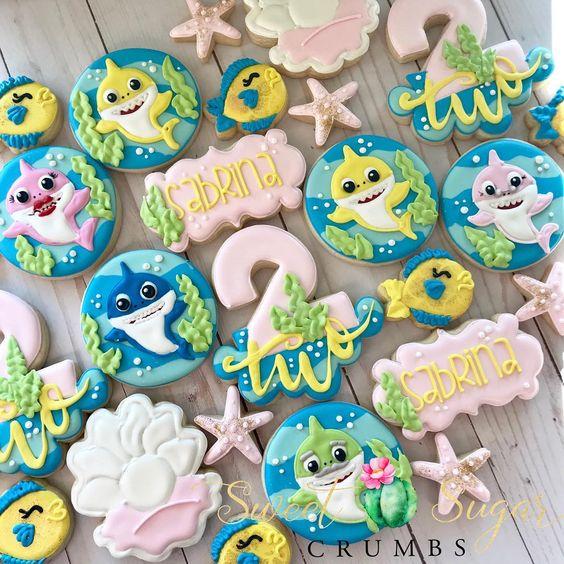 Baby Shark Cookies - Baby Shark Party Ideas