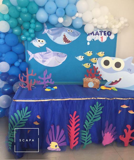 Baby Shark Dessert Table - Baby Shark Party Ideas