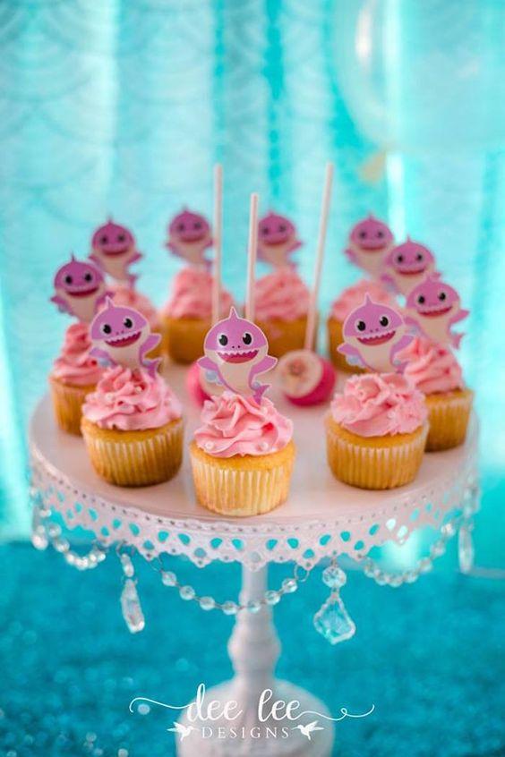 Baby Shark Cupcakes - Baby Shark Party Ideas