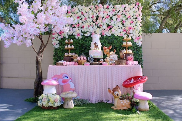 Gorgeous Bambi Themed 1st Birthday Party Dessert Table