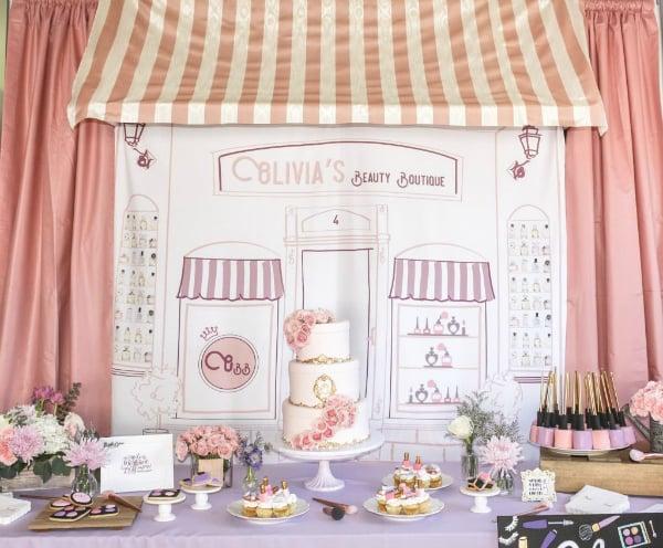 Beauty Boutique Party Dessert Table