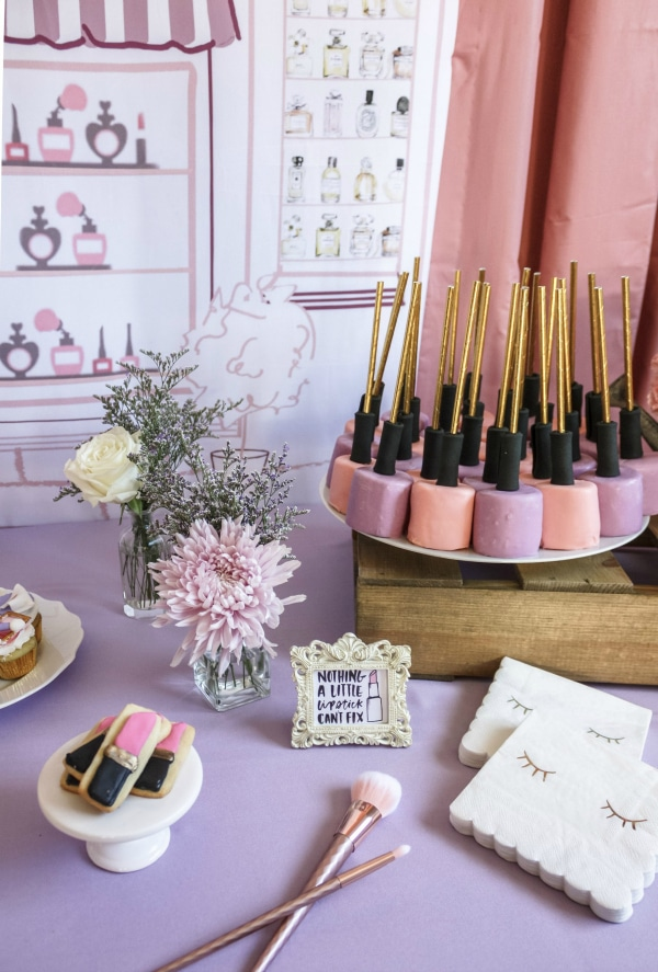 Beauty Boutique Birthday Party Desserts