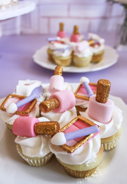 Beauty Boutique Birthday Party Makeup Cupcakes