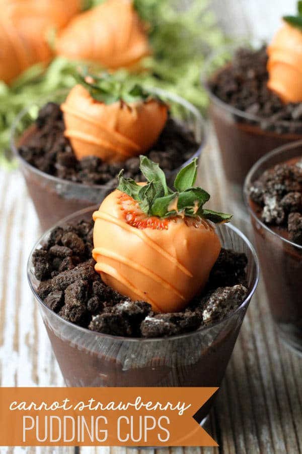 Carrot Strawberry Pudding Cups - Peter Rabbit Party Ideas