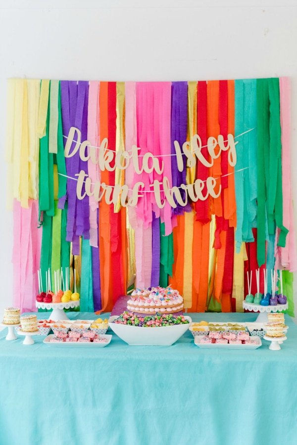 Rainbow Color Factory Party Dessert Table on Pretty My Party
