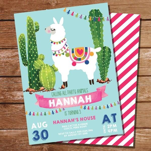 Llama Birthday Invitation - Llama Party Ideas