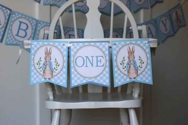 Peter Rabbit High Chair Banner - Peter Rabbit Party Ideas