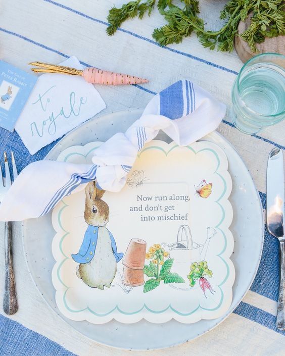 Peter Rabbit Place Setting - Peter Rabbit Party Ideas
