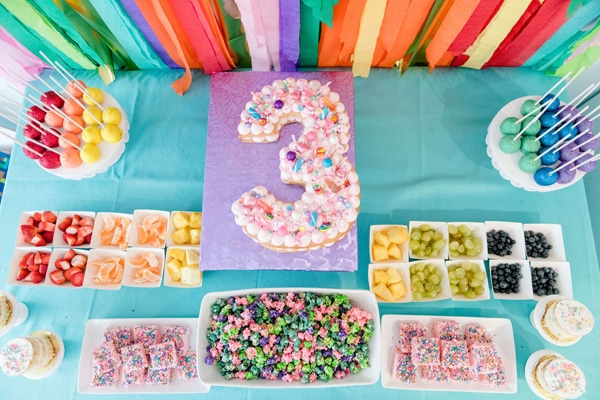 Rainbow Color Factory Party Food on Pretty My Party