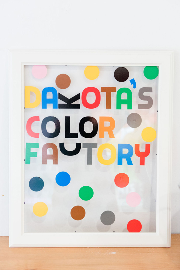 Rainbow Color Factory Party Sign on Pretty My Party