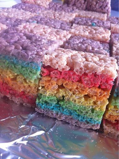 Rainbow Rice Krispies - Care Bears Party Ideas