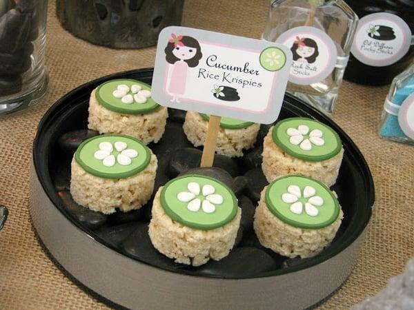 Cucumber Rice Krispie Treats - Spa Party Ideas