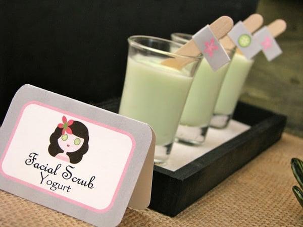 Spa Party Facial Scrub Yogurt - Spa Party Ideas
