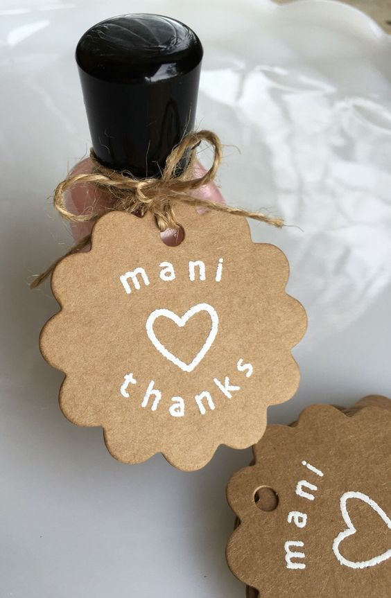 """Mani Thanks"" Spa Party Favor Tags / Favor Idea"