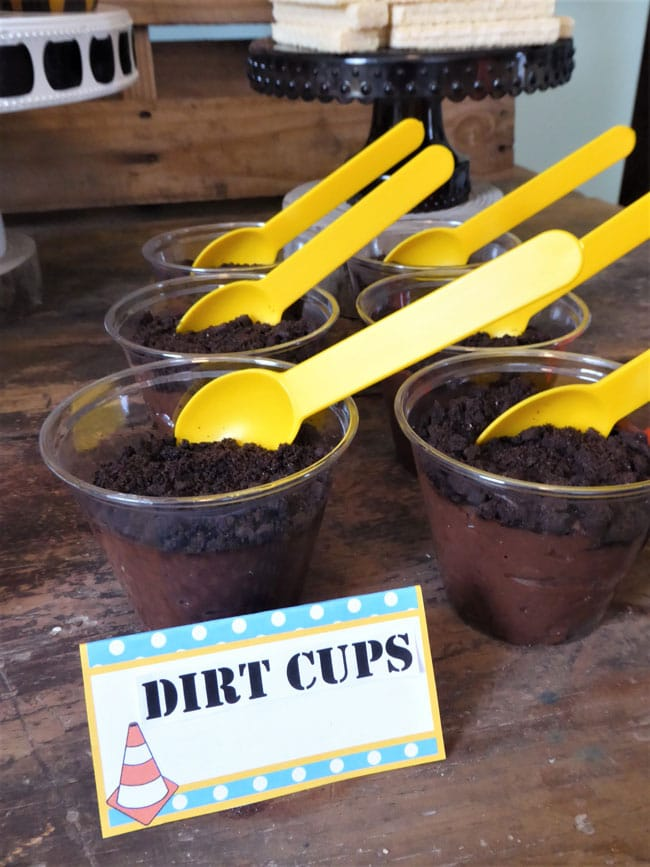 Construction Birthday Party Food - Dirt Pudding Cups