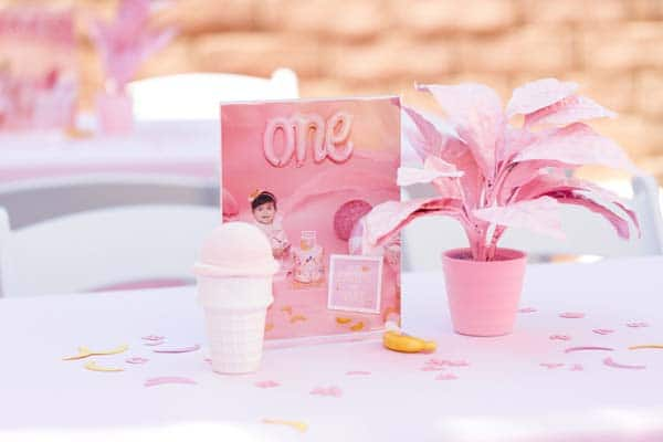 1st Birthday Photo Table Centerpieces