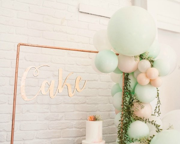 Cake Table Balloons and Sign