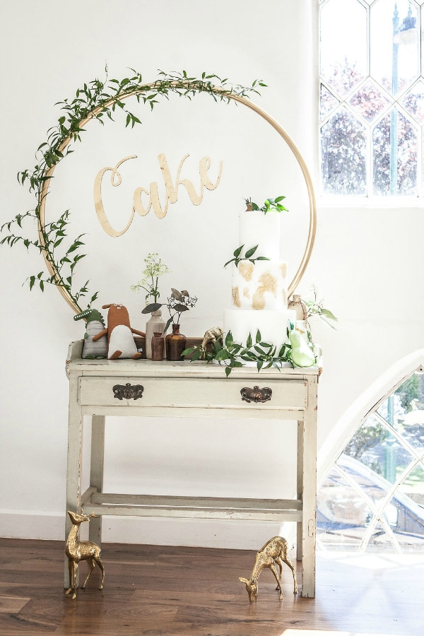 Boho Baby Shower Cake Table and Decorations