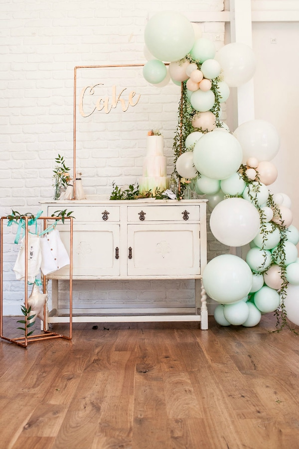 Boho Themed Baby Shower Cake Table and Decorations
