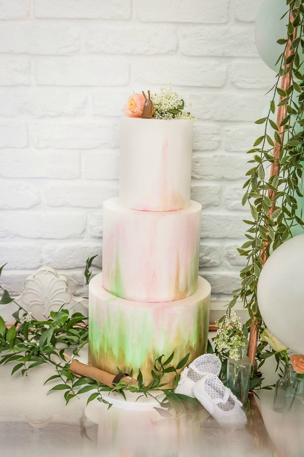 Boho Watercolor Baby Shower Cake