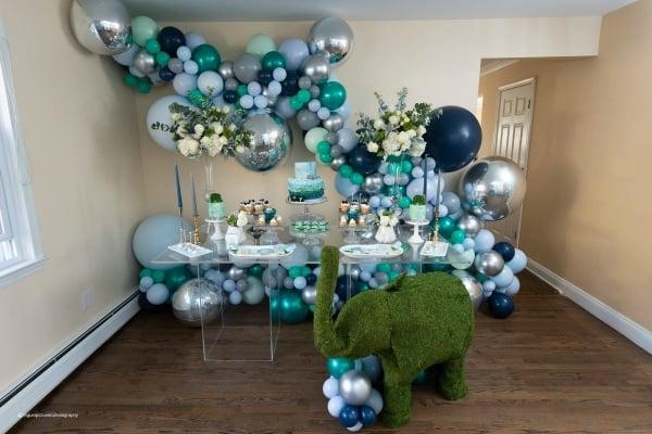 Elephant Themed Baby Shower Dessert Table