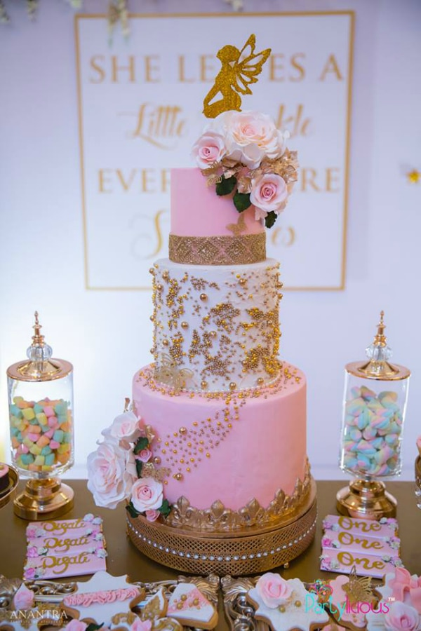 Amazing Pink and Gold Fairy Birthday Cake