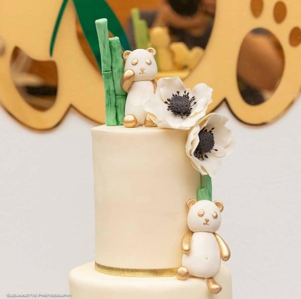 Gold Panda Baby Shower Cake Topper
