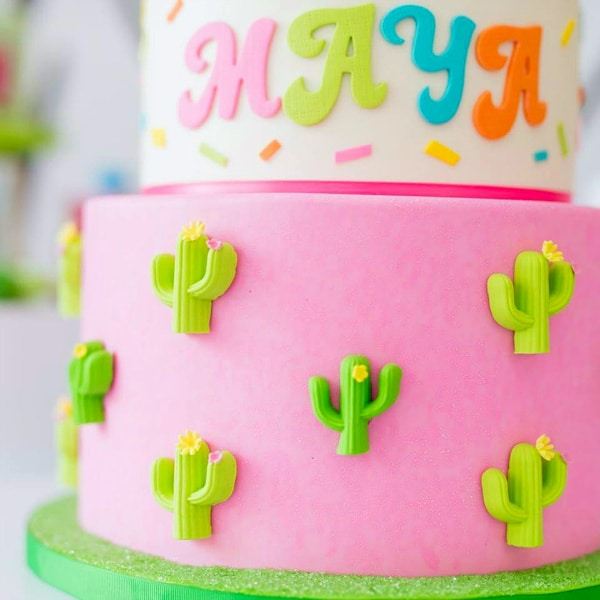 Llama and Cactus Birthday Cake