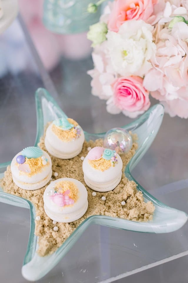 Mermaid Party Macaroons in a Starfish Dish