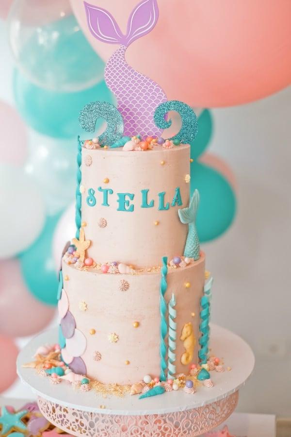 Beautiful Mermaid Under the Sea Birthday Cake