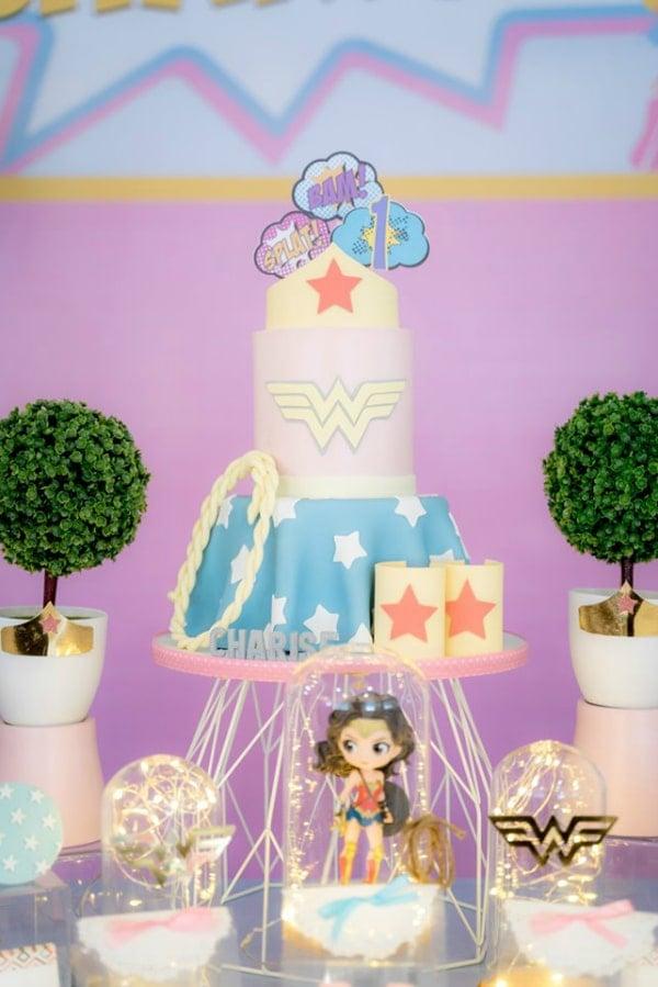 Pastel Wonder Woman Birthday Cake
