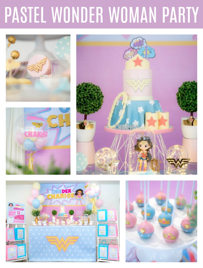 Pastel Wonder Woman Party on Pretty My Party