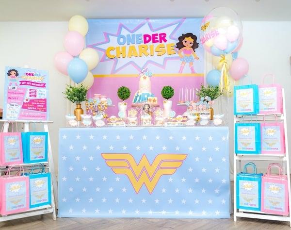 Pastel Wonder Woman Party Dessert Table