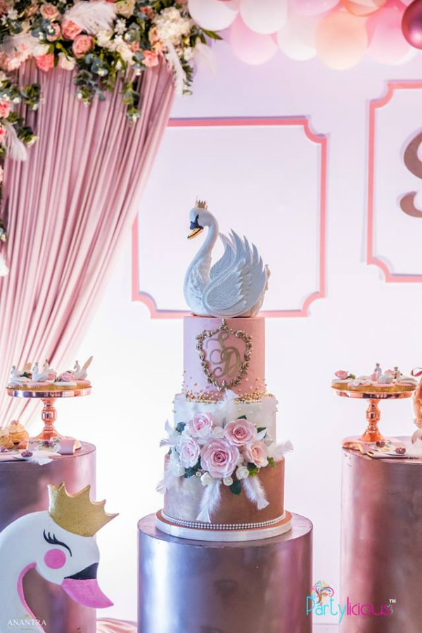 Incredible Pink, Gold and White Swan Birthday Cake