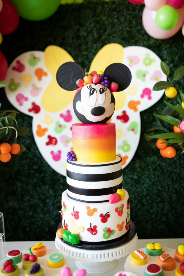 Incredible Tutti Frutti Minnie Mouse Birthday Cake on Pretty My Party