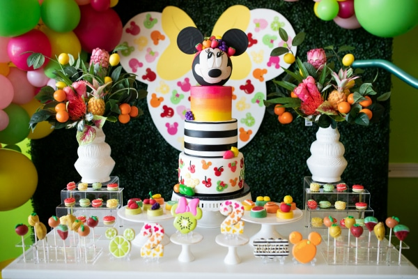 Tutti Frutti Minnie Mouse Party Dessert Table on Pretty My Party