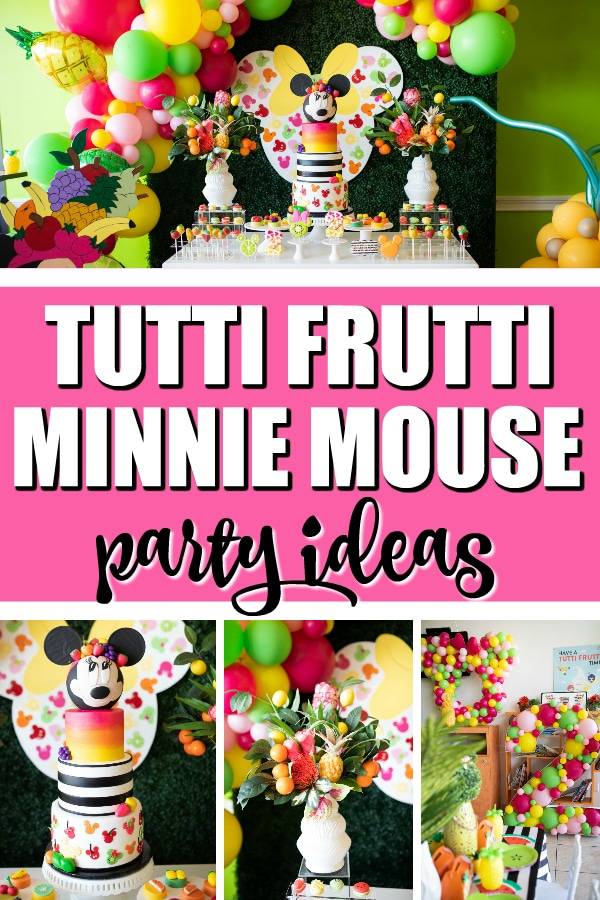 Tutti Frutti Minnie Mouse Party on Pretty My Party. Come and see the incredible party decorations, birthday cake, balloon garland, desserts and more!