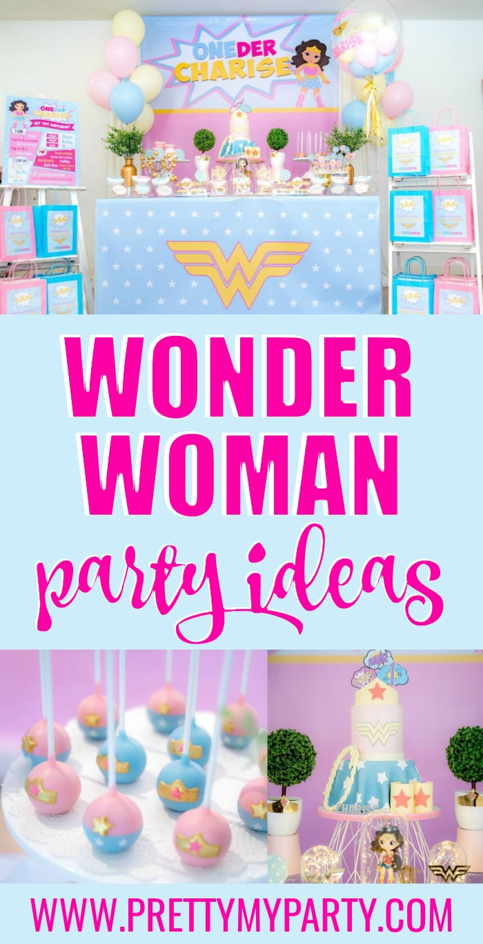 Wonder Woman Party Ideas on Pretty My Party