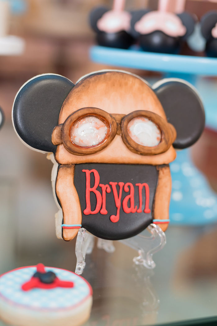 Aviator Mickey Mouse Cookie With Birthday Boys Name