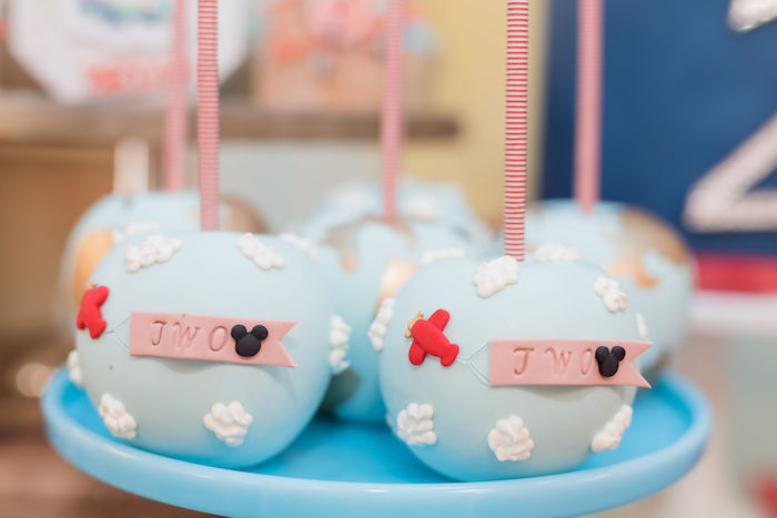 Mickey Mouse Airplane 2nd Birthday Cake Pops