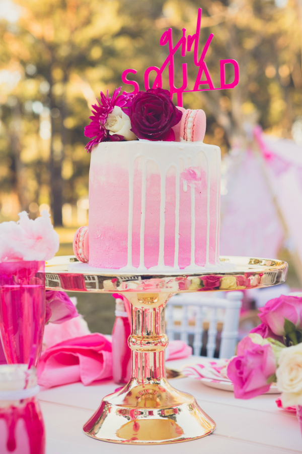 Pink Drip Cake with Hot Pink Girl Squad Cake Topper