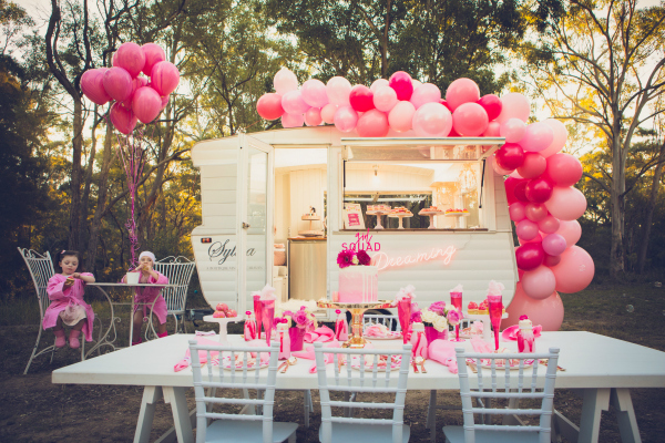 Pink Glamping Birthday Party Caravan Glamper