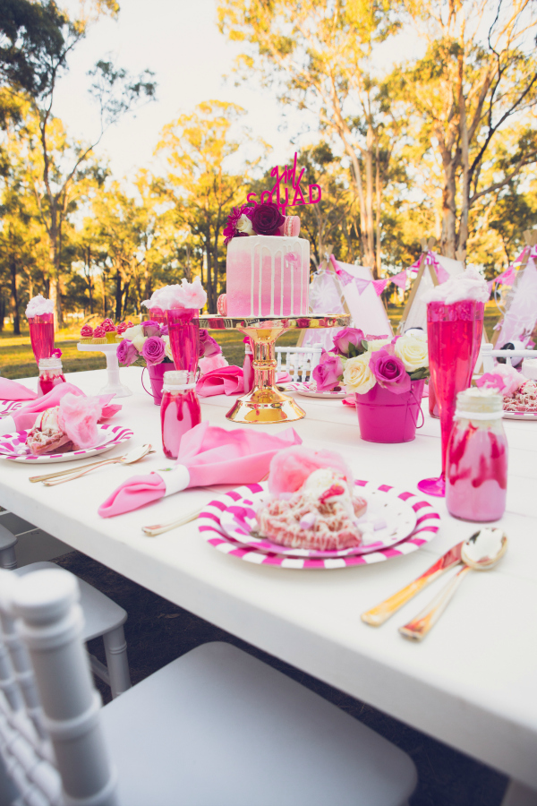 Pink Glamping Party Table