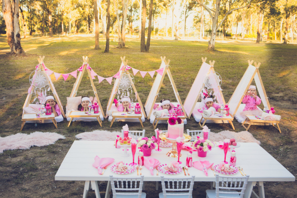 Pink Glamping Birthday Party Theme