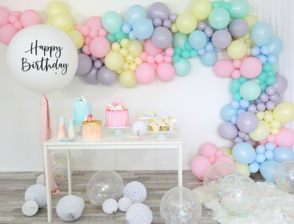 Sorbet Pastel Balloon Party Dessert Table